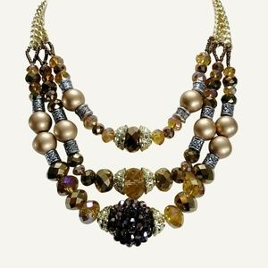 Jewelry - Bronze Gold Necklace Crystals Pearls Silver Beads